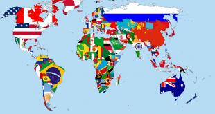 Карта на света с флагове